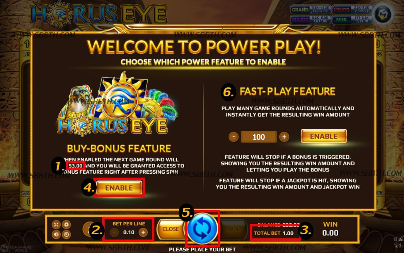 วิธีซื้อฟรีสปิน Horus Eye
